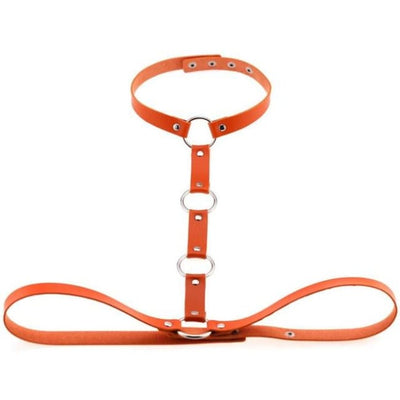 Gothic Body Bondage Harness & Choker - Orange