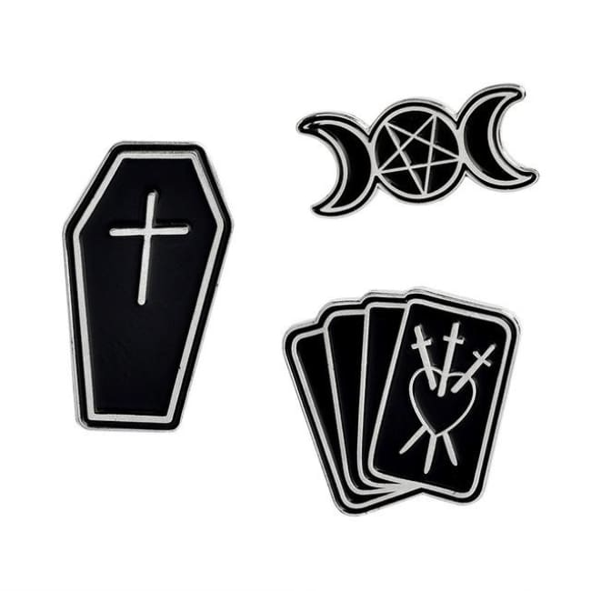GOTHIC BROOCH PINS SETS-Rebellious Creatures