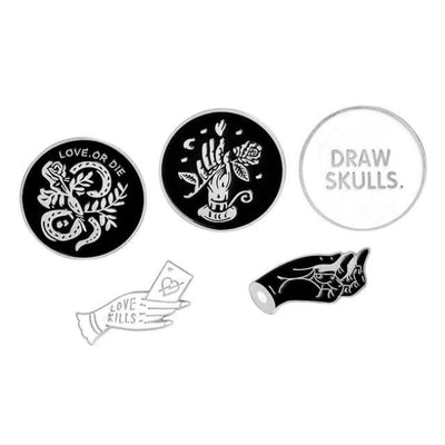 Gothic Brooch Pins Sets - Set 9 - Silver