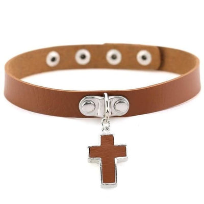 Gothic Cross Pendant Choker - Chocolate