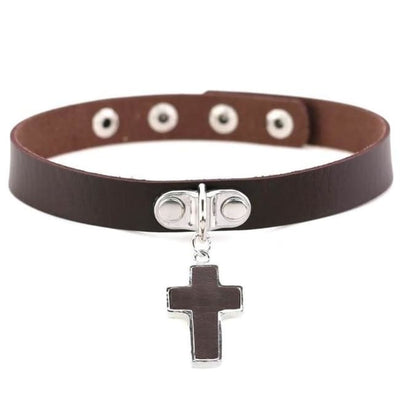 Gothic Cross Pendant Choker - Saddlebrown