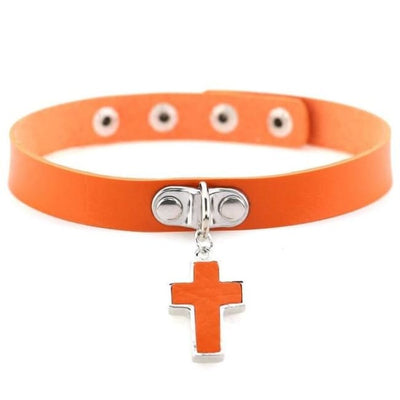 Gothic Cross Pendant Choker - Orange