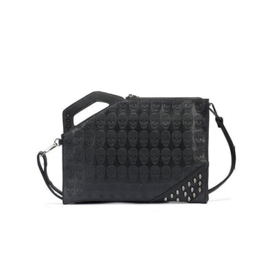 GOTHIC EMBOSSED SKULL RIVET STUD HANDBAG-Rebellious Creatures