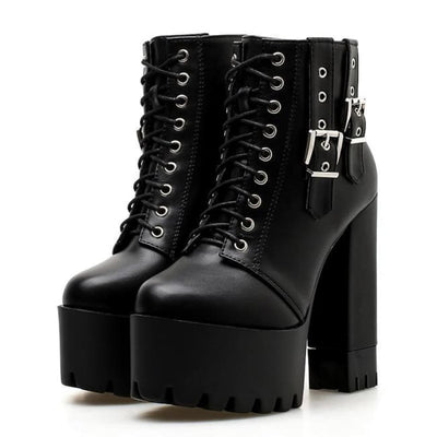 GOTHIC LACE UP DOUBLE VERTICAL BUCKLE BOOTS-Rebellious Creatures