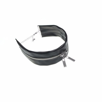 Gothic Leather Zip Choker