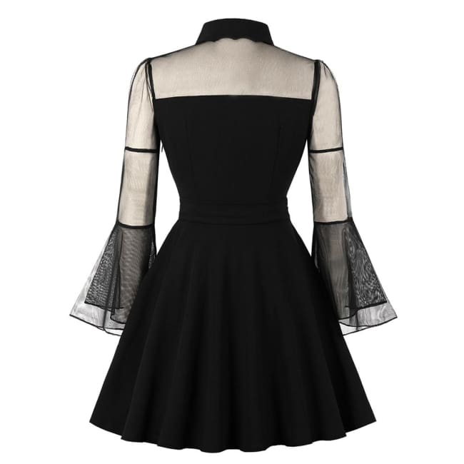 GOTHIC MESH FLARE SLEEVES SWEETHEART NECKLINE DRESS