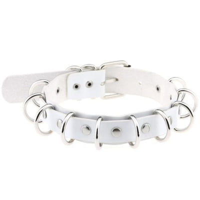 Gothic Multi-Layer O-Ring Choker - White