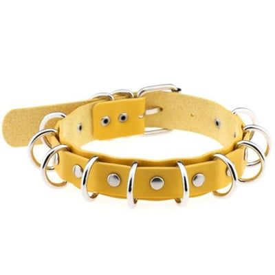 Gothic Multi-Layer O-Ring Choker - Yellow