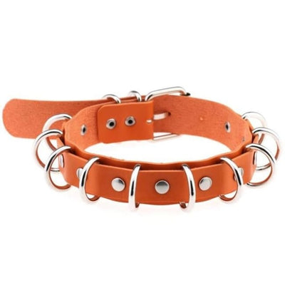 Gothic Multi-Layer O-Ring Choker - Orange