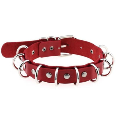 Gothic Multi-Layer O-Ring Choker - Red