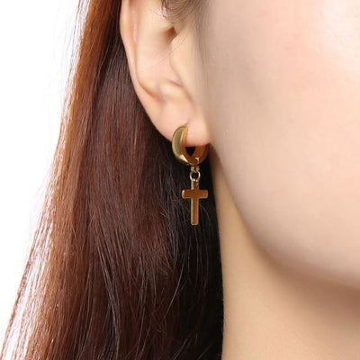Gothic Punk Cross Hoop Earrings