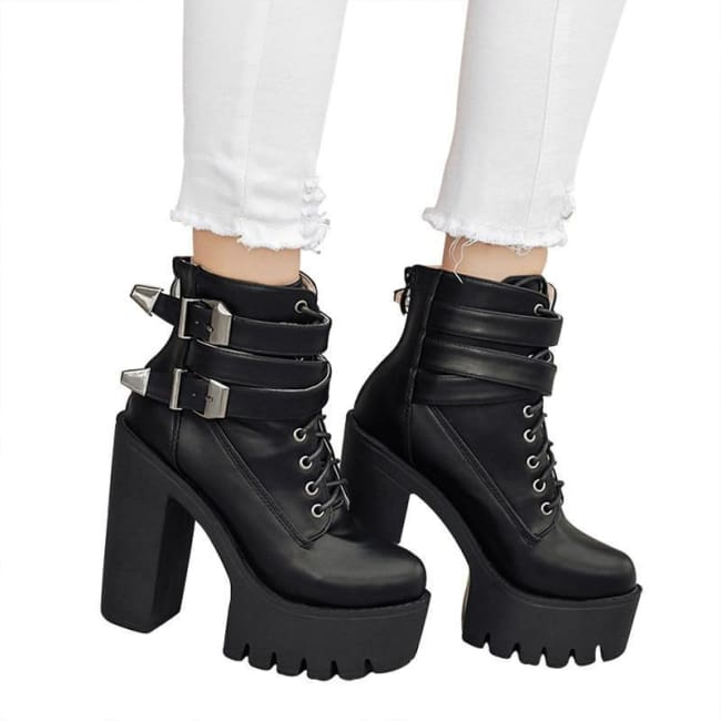GOTHIC PUNK DOUBLE BUCKLE LACE-UP PLATFORM BOOTS