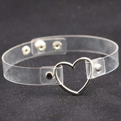 Gothic Punk Heart Ring Choker - Transparent