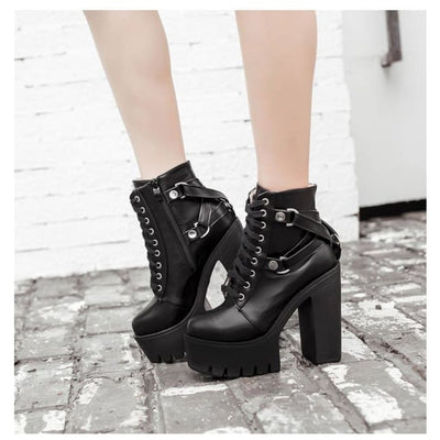 Gothic Punk Lace Up & Bandage Back Platform Shoes