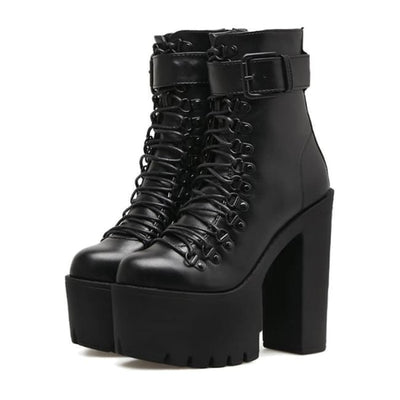 GOTHIC PUNK SINGLE BUCKLE HIGH LACE-UP PLATFORM BOOTS-Rebellious Creatures