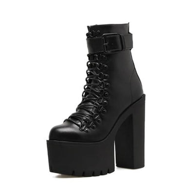 Gothic Punk Single Buckle High Lace-Up Platform Boots - Black / 4