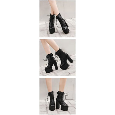 Gothic Punk Single Buckle High Lace-Up Platform Boots