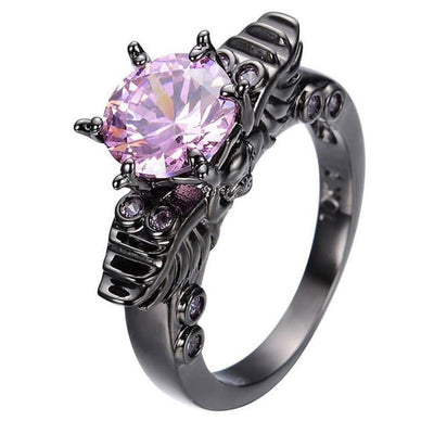 Gothic Punk Skeleton Purple Crystal Ring