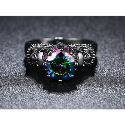 Gothic Punk Skull Black & Multi-Colour Crystal Ring