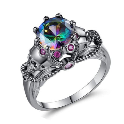 Gothic Punk Skull Black & Multi-Colour Crystal Ring - 6 / Multi