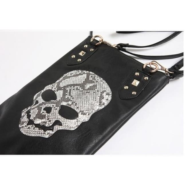 GOTHIC PUNK SKULL FACE SHOULDER HANDBAG-Rebellious Creatures
