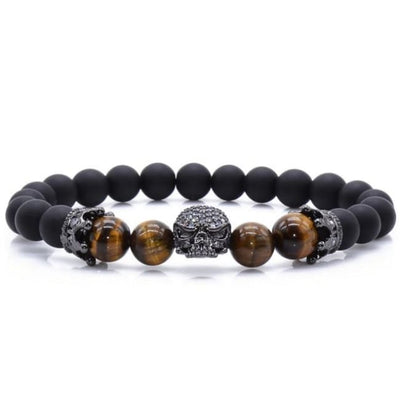 Gothic Punk Spiritual Energy Lava Stone & Natural Beads Skull Bracelet - Tiger Eye / 16Cm