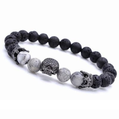 Gothic Punk Spiritual Energy Lava Stone & Natural Beads Skull Bracelet - Gray Map / 16Cm