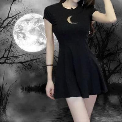 GOTHIC SEXY WITCH HOLLOW MOON SKATER DRESS-Rebellious Creatures