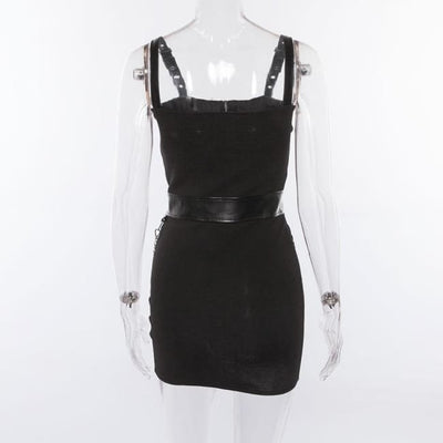 Gothic Sheath Sling Mini Dress - Dress
