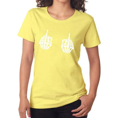 Gothic Skeleton Hands T-Shirt - Yellow 1 / S