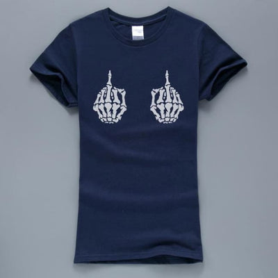 Gothic Skeleton Hands T-Shirt - Navy / S