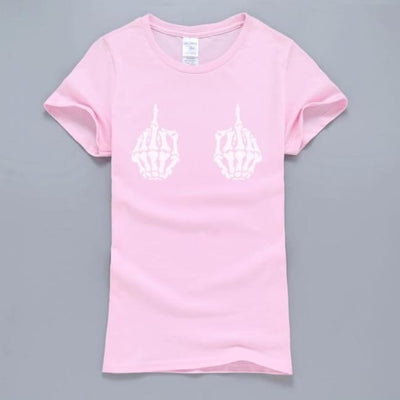 Gothic Skeleton Hands T-Shirt - Pink 1 / S