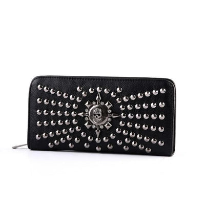 GOTHIC SKULL RIVET STUD CLUTCH WALLET-Rebellious Creatures