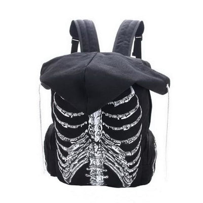 GOTHIC SKULL SKELETON HOODED BACKPACK-Rebellious Creatures