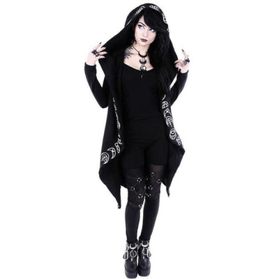 GOTHIC SYMBOLS LONG HOODIE WITH PLUS SIZES-Rebellious Creatures