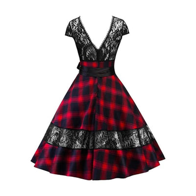 Gothic Vintage Lace Backless Plaid Dress