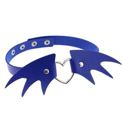 Gothic Wings Heart Choker - Blue