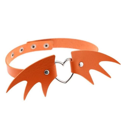 Gothic Wings Heart Choker - Orange