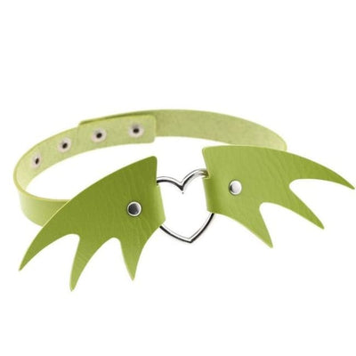 Gothic Wings Heart Choker - Green