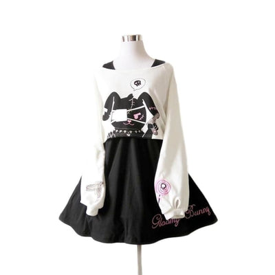 HARAJUKU GLOOMY BUNNY TWO PIECE TOP AND DRESS-Rebellious Creatures