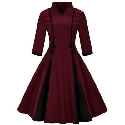 Harajuku Oriental Dress With Plus Sizes - Maroon / S