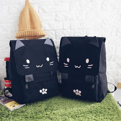 Kawaii Cat Canvas Rucksack