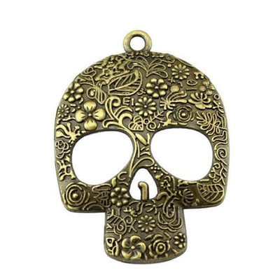 Large Skull Pendant Necklace - Bronze