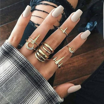 Moon & Triangle Gothic Punk Ring Set
