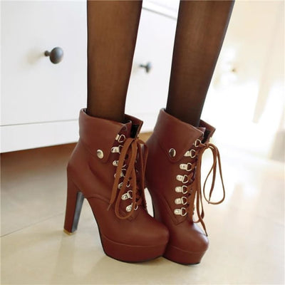 Motorcycle Lace Up Ankle Boots