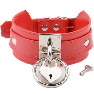 O Ring & Heart Lock Choker - Redsilver