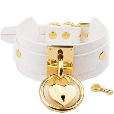 O Ring & Heart Lock Choker - Whitegold