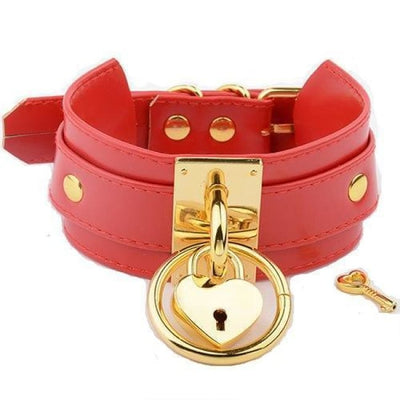 O Ring & Heart Lock Choker - Redgold
