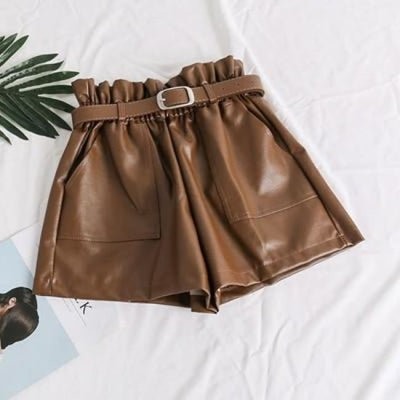 PIA LEATHER SHORTS - BROWN / L - Bottoms