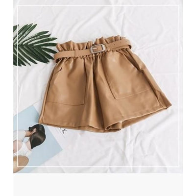 PIA LEATHER SHORTS - KHAKI / L - Bottoms